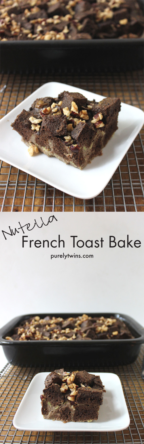A decadent french toast bake recipe filled with chocolate and hazelnuts to create nutella french toast! This is one amazing breakfast! It's gluten-free grain-free and low in sugar. || purelytwins.com