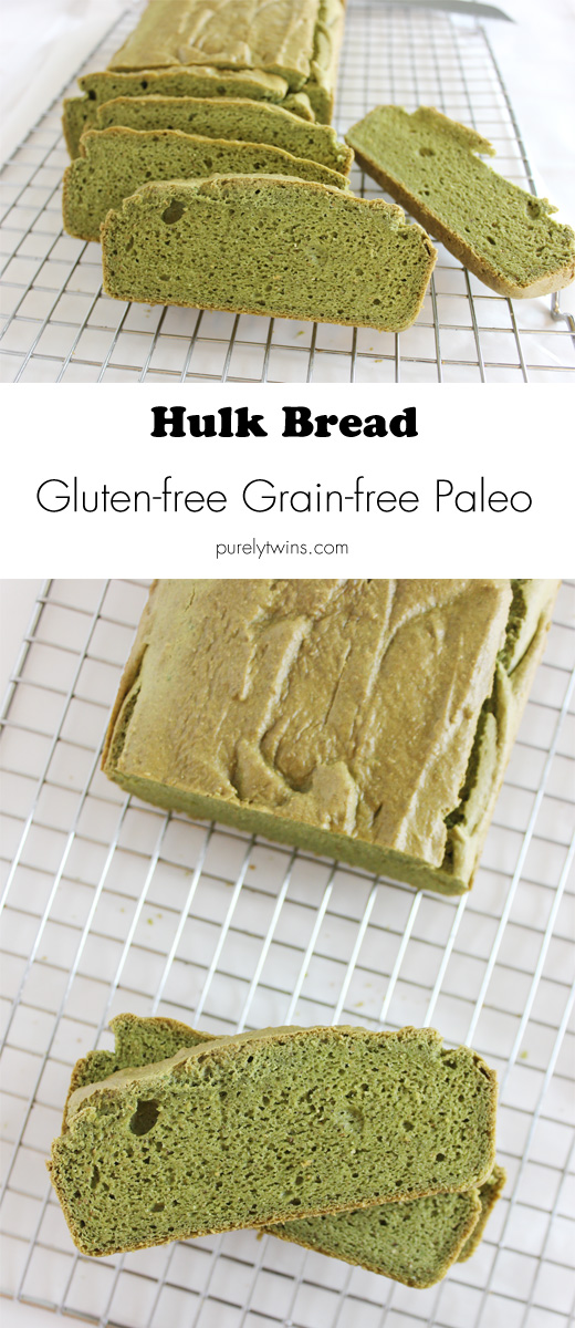 Flouress bread made with spinach and pumpkin seed butter. Hulk bread! Gluten free grain free dairy free yeast free bread. | purelytwins.com