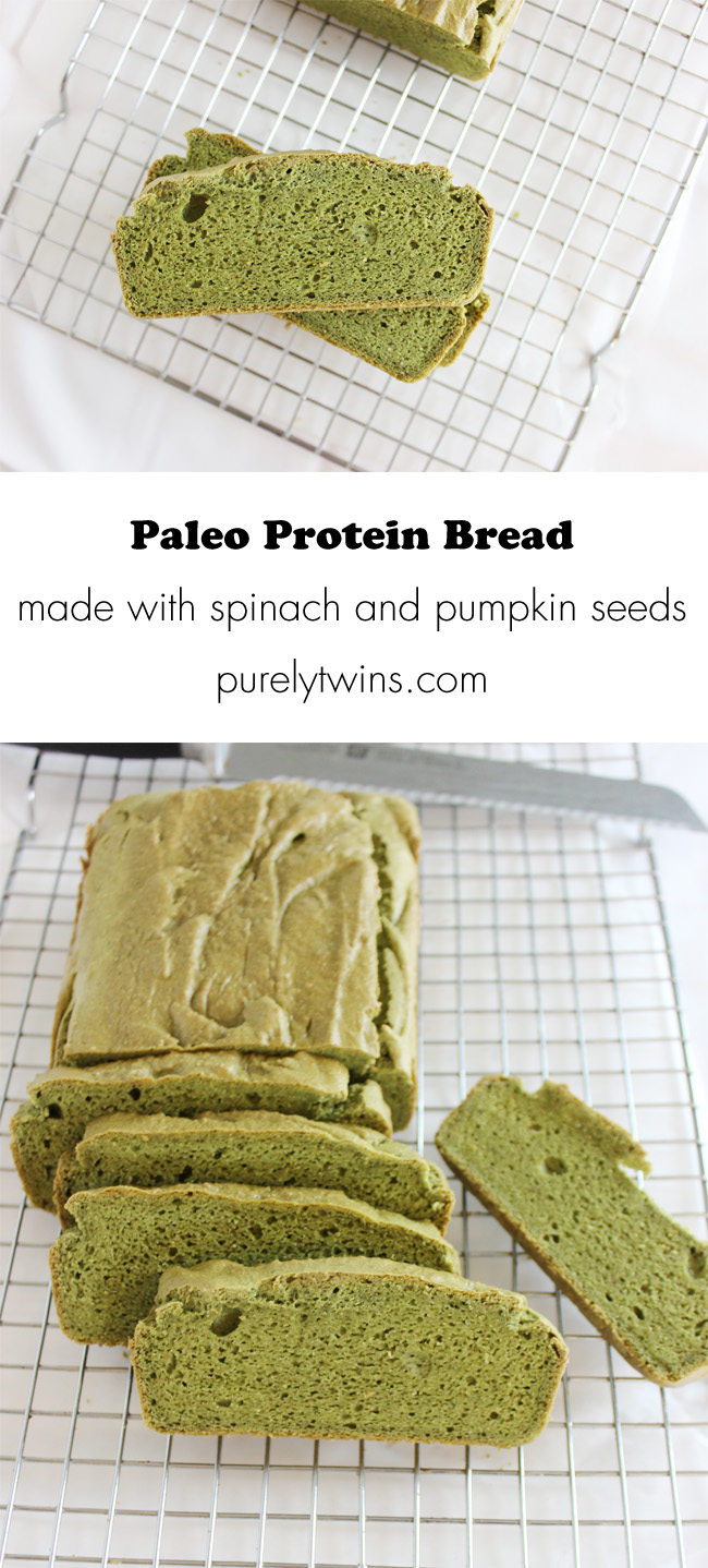 Paleo protein bread. A fun way to get your kids to eat spinach! Hide it in bread. | purelytwins.com