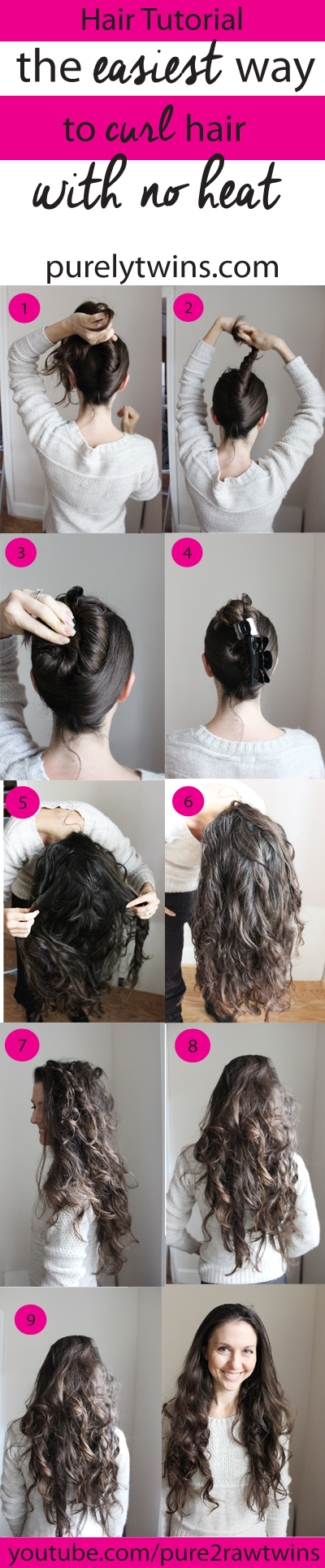 How to make the easiest curls ever with no curling. All you need is a hair clip. If you give this a try make sure to let us know! Have fun curling your hair with no heat or damage to your hair. | purelytwins.com