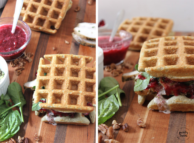 Paleo grain-free savory turkey cranberry sandwich made with plantain waffles.