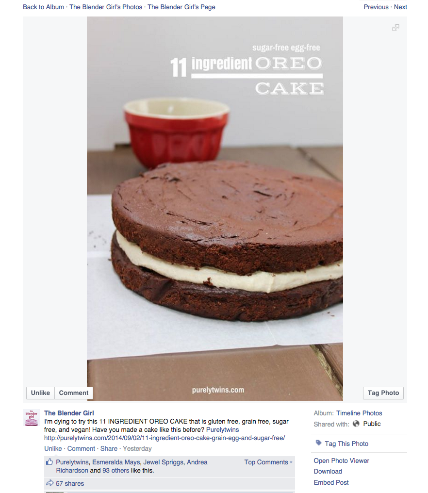 blender girl sharing our 11 ingredient oreo cake on facebook shout out love