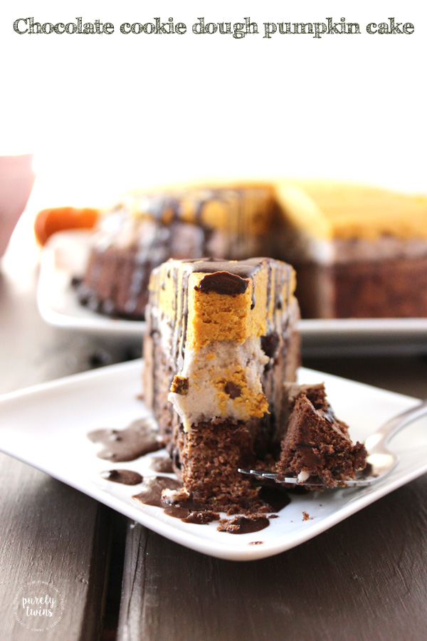 Chocolate cookie dough pumpkin fudge cake that is gluten, grain and dairy free. Made from real food ingredients.