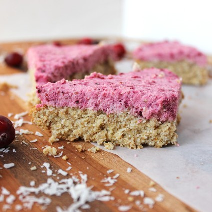 Cranberry bliss bar. Paleo & Vegan friendly.
