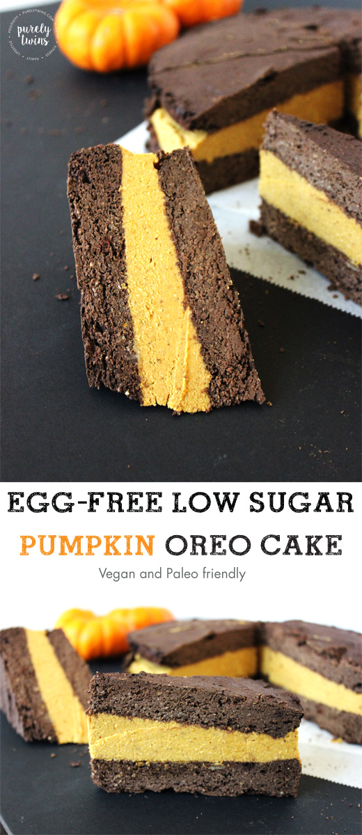 Egg-free low sugar protein pumpkin oreo cake recipe that is paleo and vegan friendly. Gluten-free pumpkin oreo.
