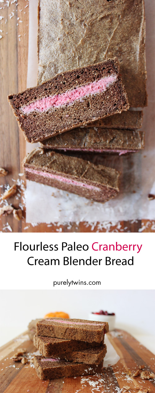 Flourless paleo cranberry blender bread. Easy to make. Made from real ingredients. No refined sugar.