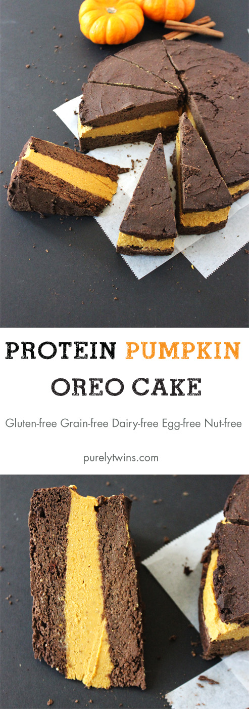 Protein pumpkin oreo cake recipe that is gluten, grain, dairy, egg, and nut free. |purelytwins.com