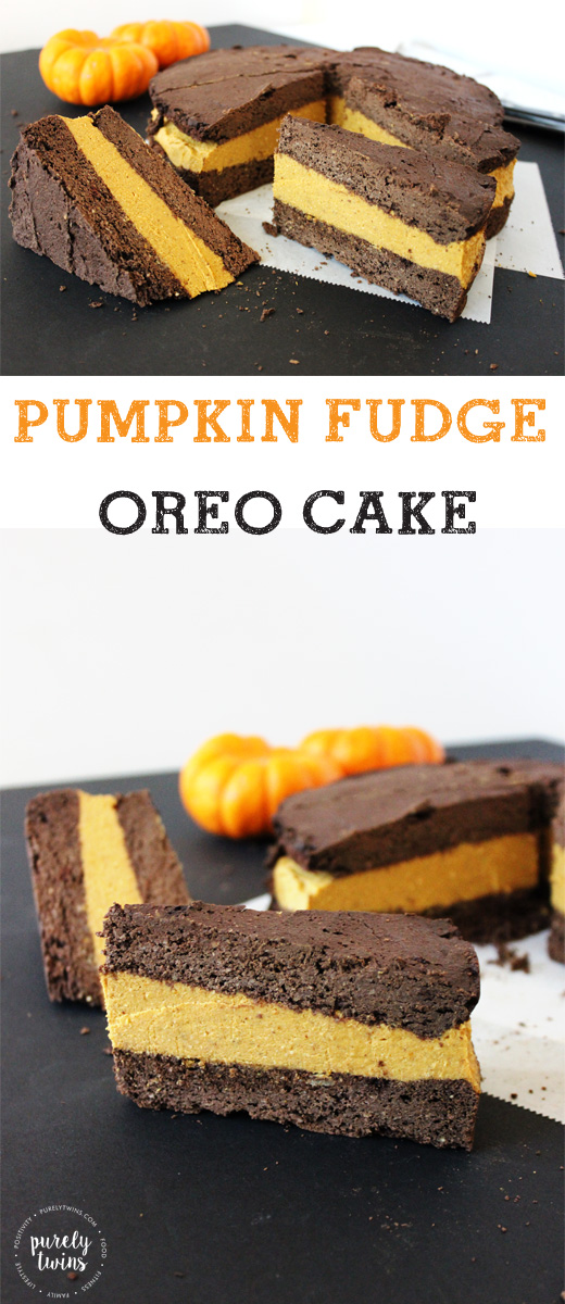 Pumpkin fudge oreo cake made from simple real ingredients. Low in sugar, gluten-free, egg-free, grain-free, dairy-free. | purelytwins.com