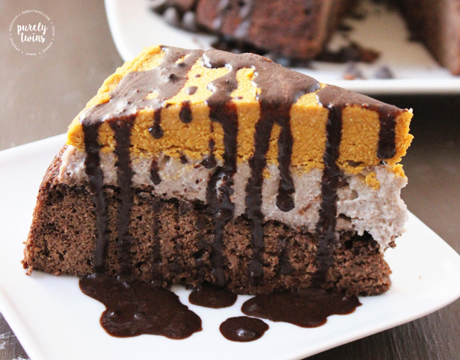 Pumpkin fudge cookie dough brownie cake