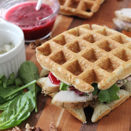 Leftover turkey cranberry jam broccoli waffle sandwich