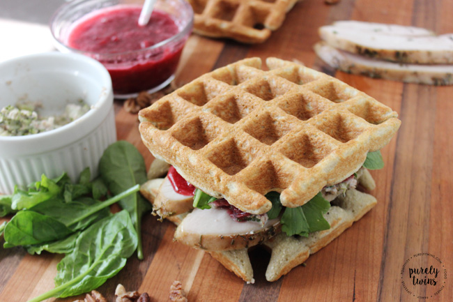 Leftover turkey cranberry jam creamy broccoli waffle sandwich.