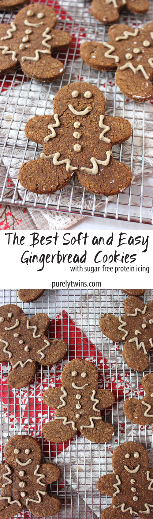 Secretly healthy and soft Gingerbread Man Cookies Recipe ~ You'll love these easy, delicious gingerbread men loaded with warm winter spices and sugar-free protein icing. These cookies are gluten-free grain-free dairy-free and egg-free! Perfect to enjoy this holiday season. || purelytwins.com