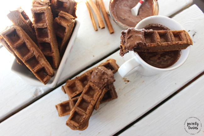 Breakfast just got a little sweeter with this easy and healthy gluten-free grain-free paleo gingerbread waffle stick recipe with dairy-free mocha chocolate dip.