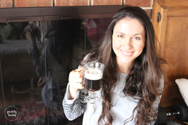 Warm irish coffee with kahlua