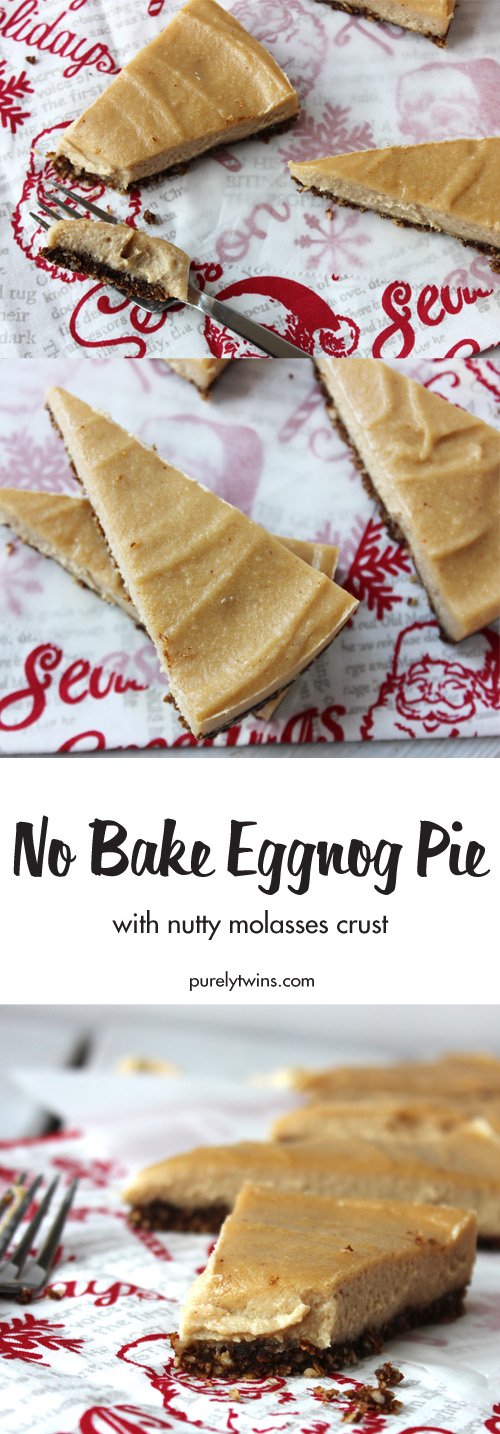 No Bake Eggnog Pie - this easy no bake pie is so rich and creamy with a riche nutty molasses crust. Perfect for the holidays. Prepares in just minutes! Everyone will love this dessert.