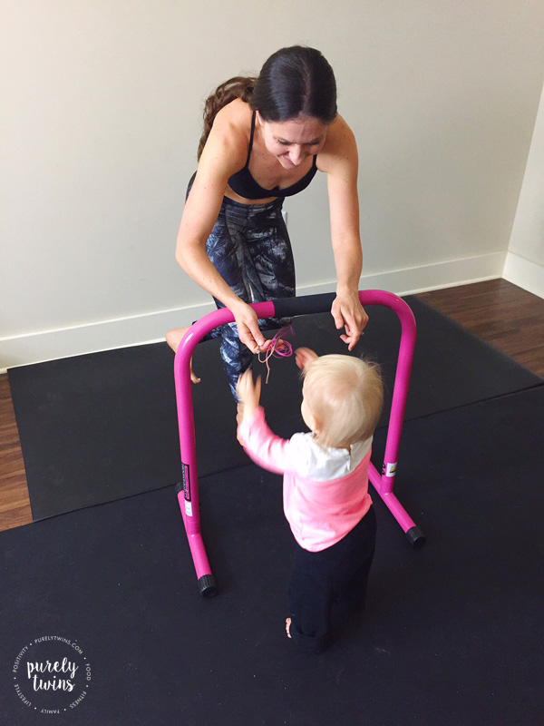 Fit mom with diastasis working out with daughter