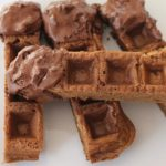 gingerbread waffle sticks with mocha hot chocolate dip