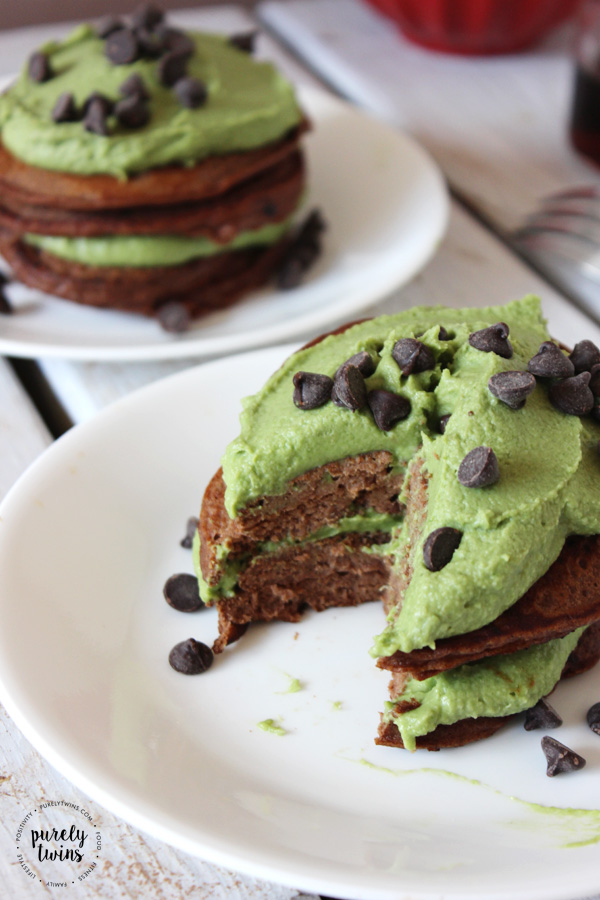 Mint Chocolate Chip Pancake stack for two! Shh we won't tell if you don't share. Delicious and super EASY pancake recipe for a fun Valentine's Day breakfast or St. Patrick's Day . . . or any day treat! Why not have chocolate for breakfast or anytime of the day, right?