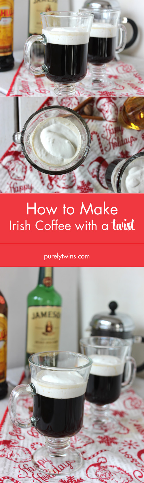 You can't go wrong with a  Irish Coffee to warm up your insides! Especially when it can be ready in 10 minutes and made with kahlua instread of brown sugar. A fun twist on irish coffee recipe that's perfect for  St. Patrick's Day celebrations or any cold chilly night.
