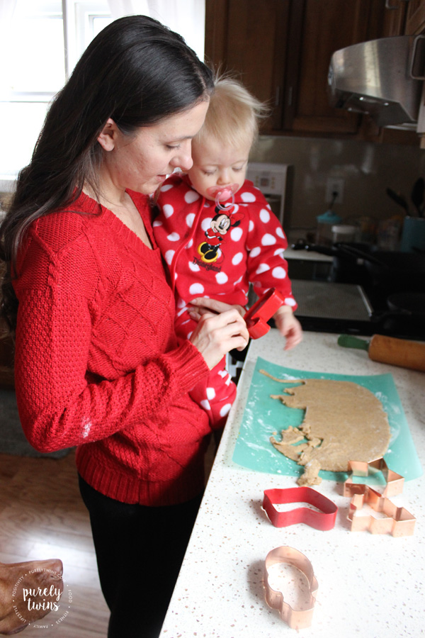 Creating new family Christmas traditions with making cookies for santa.