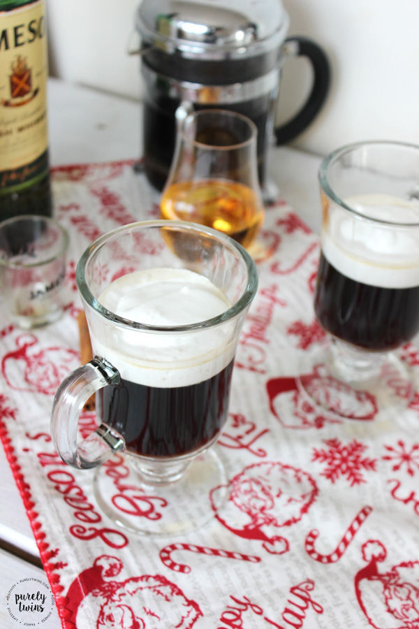 Irish Coffee (with Jameson) - made with a TWIST. Easy recipe for Irish Coffee for after dinner on St. Patrick's Day or any day you like that's made with kahlua instead of brown sugar and homemade dairy-free coconut whipped cream.