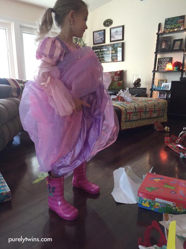 Rainboots with dress.