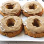 Pumpkin spice latte donuts with coffee protein glaze