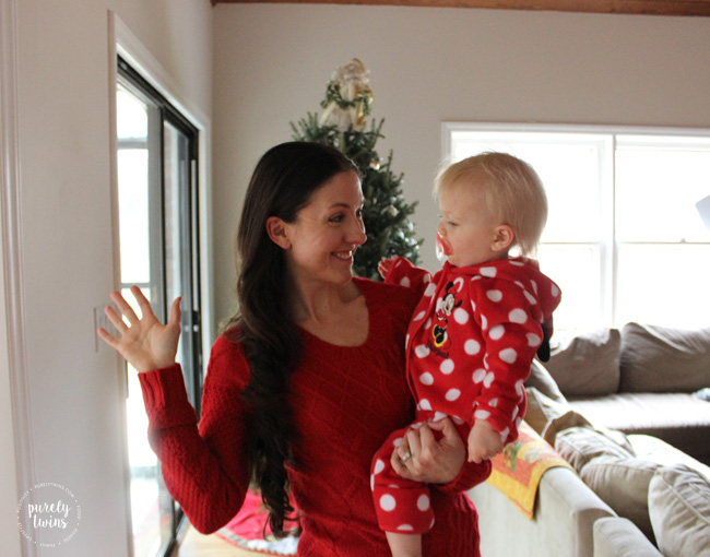 Brining in the Christmas cheer with singing and dancing with toddler.