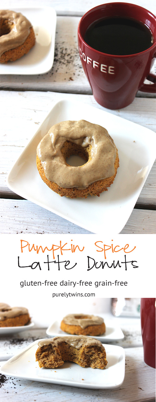 Pumpkin Spice Latte Baked Donut - a delicious fall donut bursting with pumpkin, coffee, and pumpkin spice flavors! Gluten-free donuts done in just 16 minutes. This can be made grain-free too.