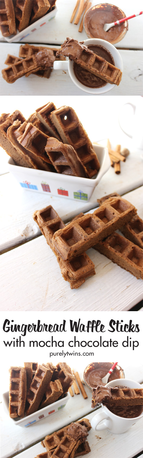 Breakfast made easy with gingerbread waffles that are cut to make waffle sticks. You won't believe what these super healthy and delicious waffle recipe is made out of!!