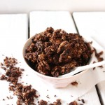 Breakfast chocolate tahini granola
