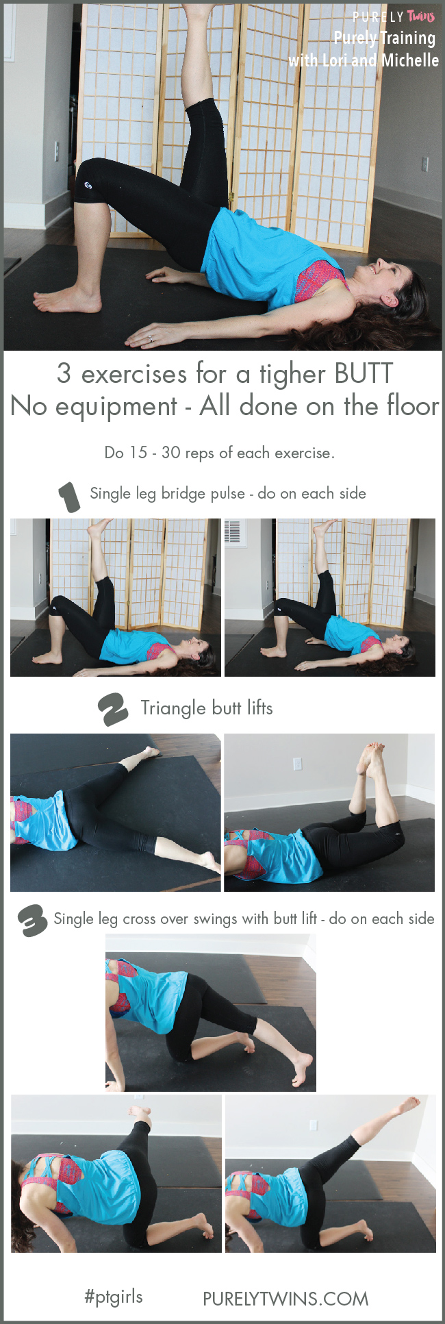 Hey ladies!! Get ready to firm up that butt. 3 moves for a tighter booty. No equipment needed. You can do them all on the floor. A great workout to do anywhere and anytime.