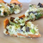 Sweet potato crusted veggie quiche