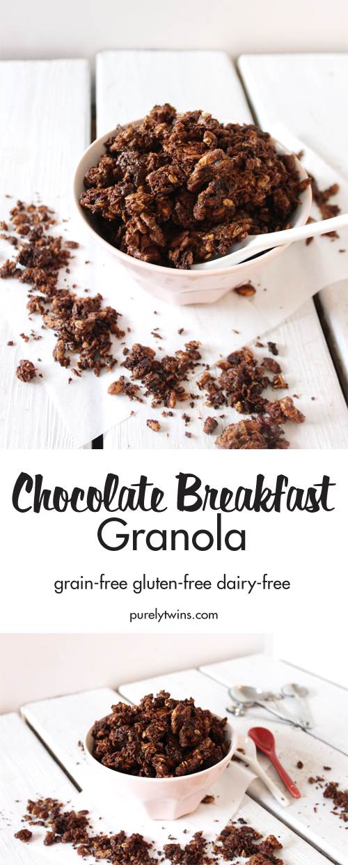 Chocolate granola for breakfast? Yep! Super easy homemade chocolate granola recipe! It's easy to vary it a bit to your liking. 10 ingredient grain-free gluten-free chocolate tahini granola that's perfect for breakfast! This granola is SO simple and taste AMAZING!