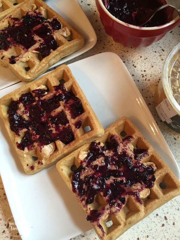 Delicious grain free gluten free plantain waffles to make peanut butter and jelly waffles.