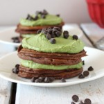 Mint chocolate pancake stack for two.