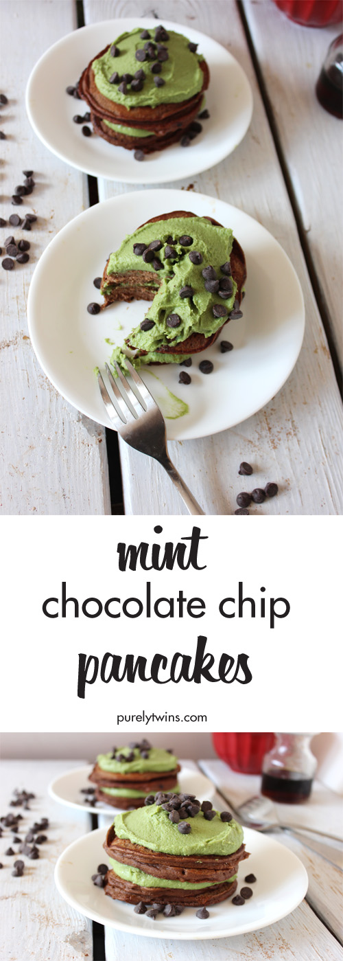 This Mint Chocolate Chip Pancake stack is my most popular breakfast pancake recipe. With the creamy avocado frosting tastes just like Mint Chocolate Chip ice cream!! You won't believe what these pancakes are made from - just 4 simple ingredients. A must make!