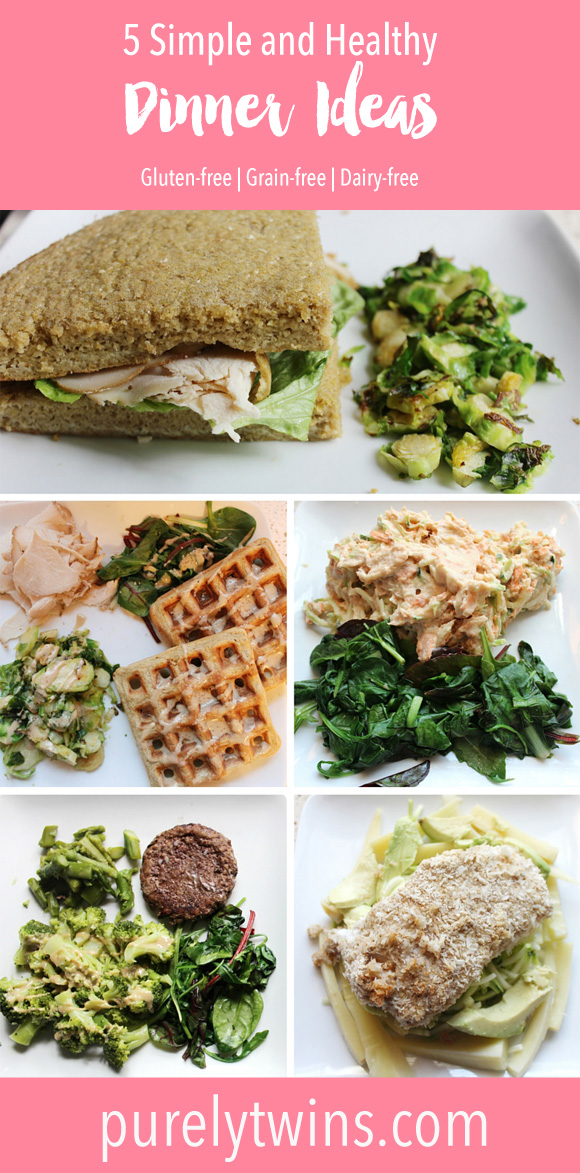 5 Simple and healthy dinner ideas that are made in under 30 minutes. These recipes make enough to serve 2 using wholesome ingredients. If you are looking for gluten-free, grain-free and dairy-free dinner ideas check out these recipes. Especially if you don't want to spend hours in the kitchen with ingredients you don't know. Making dinner at home easy and delicious. Whole30 dinner ideas included.