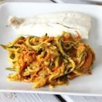 Creamy plantain veggie pasta made in under 10 minutes
