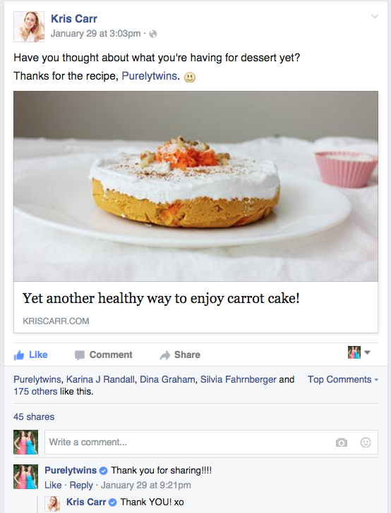 carrot cake on Kris Carr's facebook