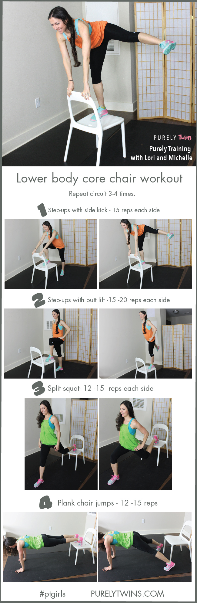 Chair workout for better buns, abs and thighs. This leg and core workout can be done anywhere as all you need is a chair. Get ready ladies to tone your legs using a chair! Let us know which move is your favorite from this exercise routine.