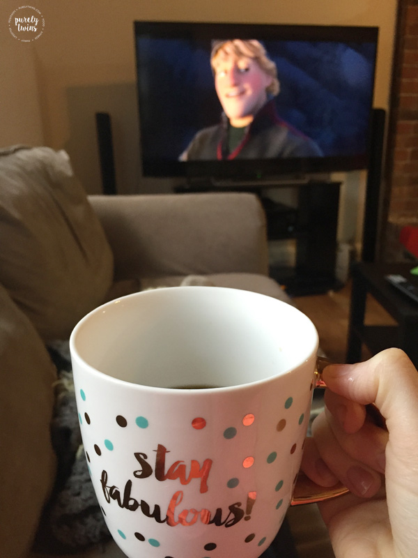 Drinking coffee while watching Disney Frozen