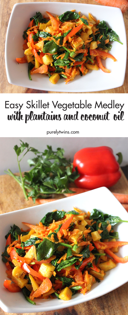 This Sautéed Vegetable Medley is super healthy, tasty, and makes a great fresh vegetable side for any dinner. Gluten-free paleo vegetables with Plantains and Coconut oil! So flavorful.