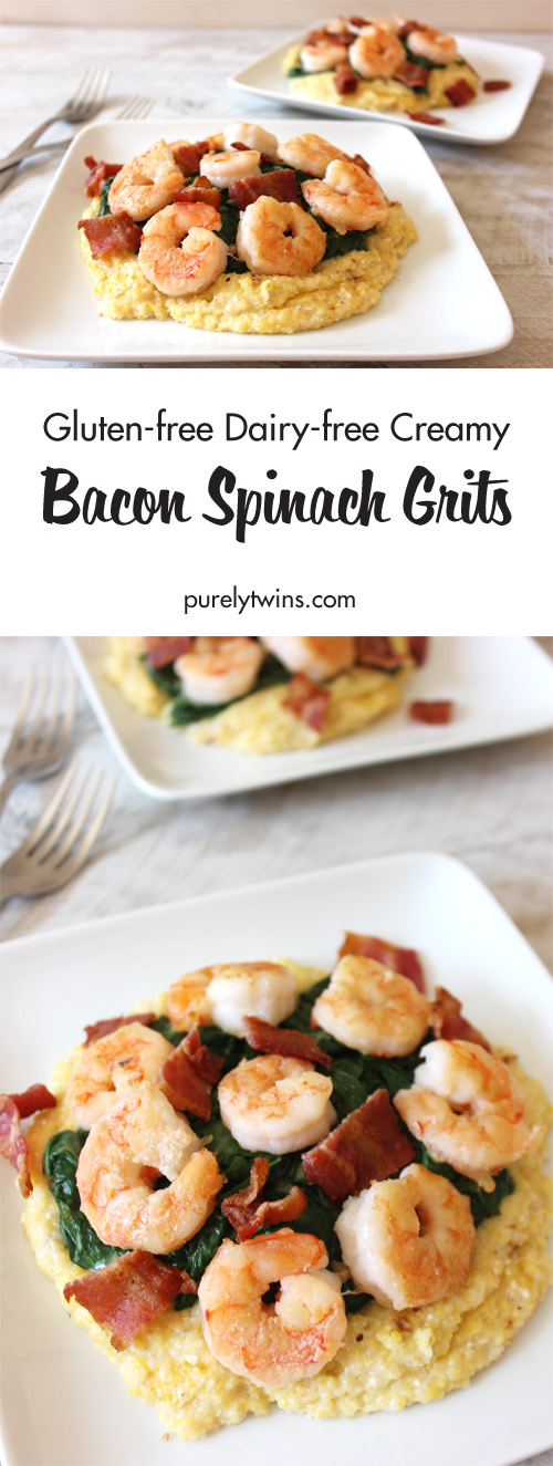 Gluten-free dairy-free creamy bacon spinach grits with shrimp. Fresh flavors and comforting richness, you're gonna love it! If you are like us and enjoy a good soul comforting meal this recipe is for you. Not only does it contain creamy grits but also shrimp, bacon and creamy coconut spinach. Creamy and nourishing dinner for two!