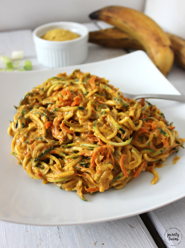 Quick and Healthy Creamy Carrot Zucchini Pasta with Plantains– a super simple vegetarian dish that takes under 10 minutes to make. Great dinner idea for a busy weeknight!