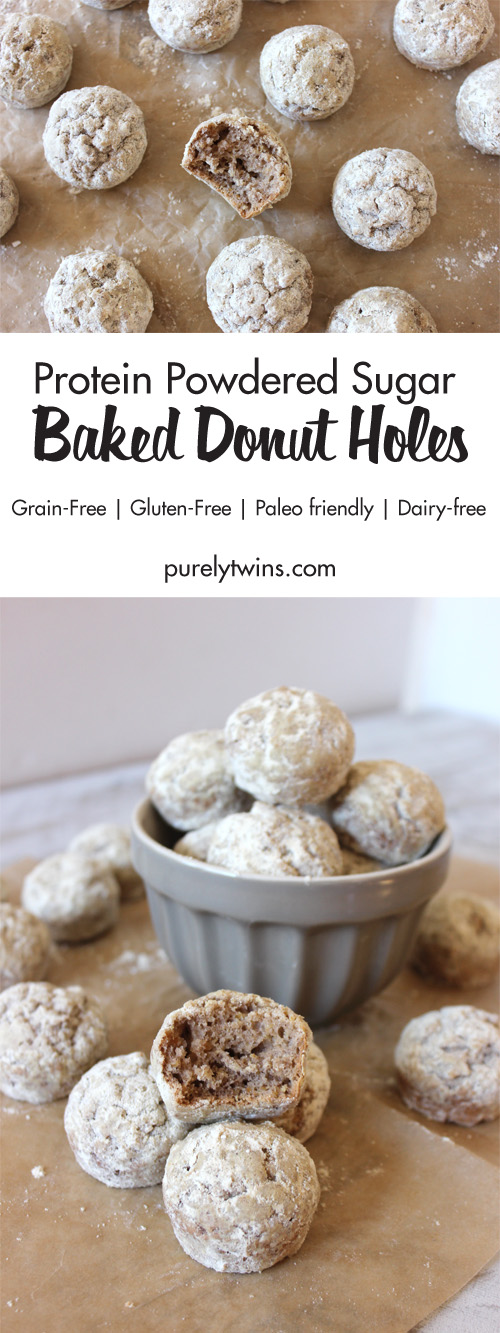 Easy baked donut holes covered in low sugar protein powdered sugar. Baked not fried. Made in just 15 minutes! A fun and quick breakfast recipe. Light chewy donut with a perfect balance of flavor. So delicious. You won't believe they are gluten and grain free.