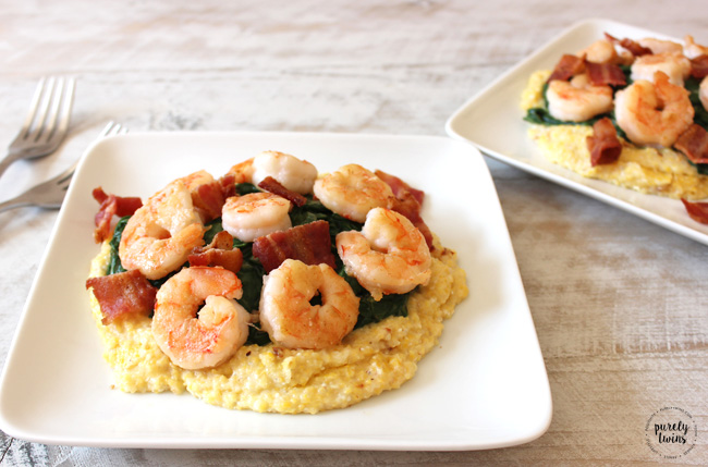 Shrimp and Grits with bacon and creamy spinach