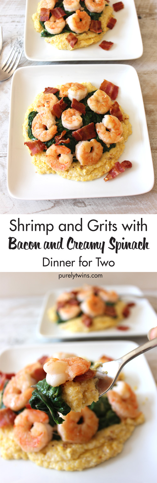 Seriously, the BEST shrimp and girts recipe ever. Shrimp bacon red pepper with creamy spinach and super creamy grits made with no cheese. This classic combo gets a healthy recipe make over. Shrimp and grits for two! Easy dinner for a busy week night.