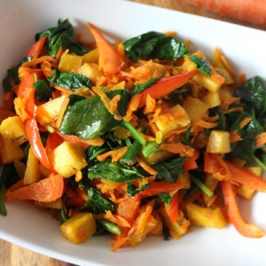 Vegetable Medley with plantains. A simple flavorful side dish.