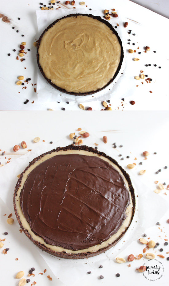Easy and healthy no bake chocolate peanut butter cheesecake recipe. Made with a simple chocolate protein crust. Low in sugar dessert as it is sweetened with stevia.